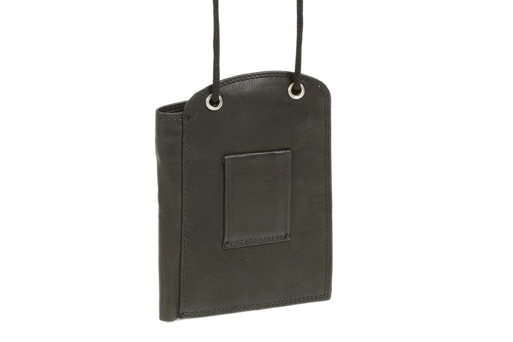 Brustbeutel mit Kreditkartenfächern und Scheinfach LEAS in Echt-Leder schwarz